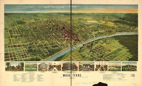 Panoramic Map of Waco, Texas, 1892
