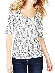 Pure Cotton Birdcage Print T-Shirt [T41-2686J-S]
