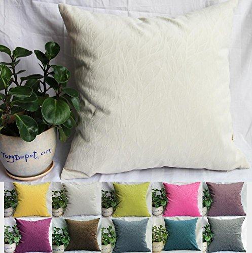 TangDepot Solid Velvet Decorative Pillow Covers/Euro Pillow shams, Super Soft