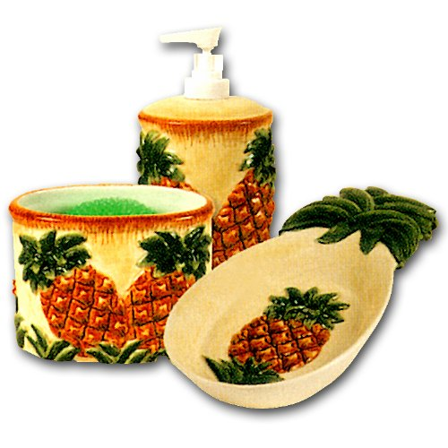 Ceramic Pineapple Kitchen Counter Top Accessories Set - Soap Dispenser Spoon Rest Scouring Pad Holder