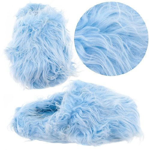 Cheap Light Blue Fuzzy Slippers for Women (B0077QTMH2)
