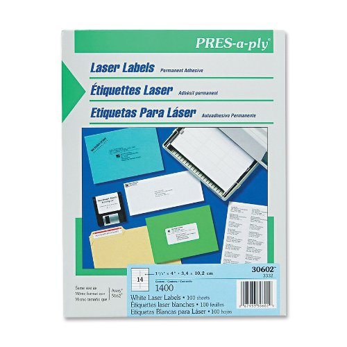 Pres-A-Ply Laser Address Labels, 1.33 X 4 Inches, White, Box Of 1400 (30602)