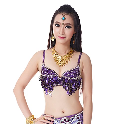 AveryDance Belly Dance Sequins Bra Top for Halloween Costume