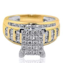 buy 1Cttw Diamond Wedding Ring 3 In 1 Style Engagement & Bands Yellow Gold