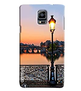 Omnam Posttop Lantern On Sea Side And River Bridge Designer Back Cover Case For Samsung Galaxy Note 4 N9100