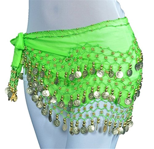 Dreamspell 128 gold coins belly dance for ladies chiffon handmade hip scarf