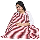 Nursing Cover For Breastfeeding Privacy EXTRA WIDE For Full Coverage - Breathable 100% Cotton , Stylish And High Quality With Pocket-Red Color