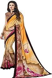 JK apparels Women Silk Crepe Yelow saree with designer blouse