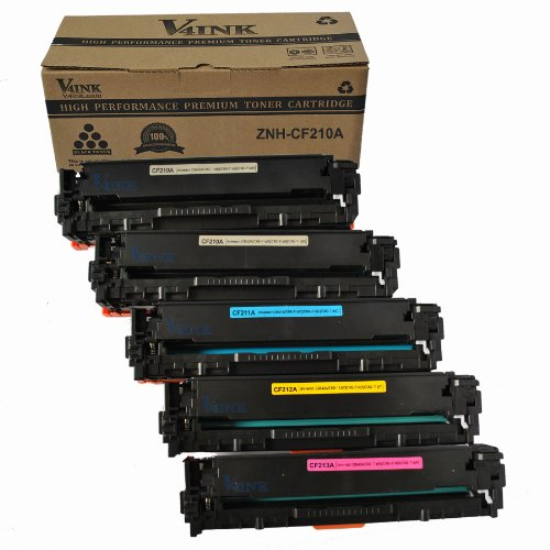V4INK® 5 Pack (2 Black + 1 each Color) New Compatible 131A Toner Cartridge for Hp Laserjet Pro M251 M276 Toner Printers -- CF210A Black,CF211A Cyan,CF212A Yellow,CF213A Magenta