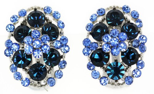 Sapphire Blue Austrian Crystal Oval Cluster Clip-on Earrings
