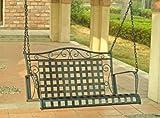 Wrought Iron Porch Swing - Lattice (Black Pewter) (24