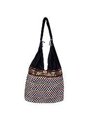 Womaniya Canvas Black Handbag For Women(Size-32 Cm X 32 Cm X 10 Cm) - B00SJ1JO54