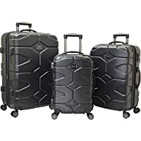Travelers Club Luggage Axel 3-Piece Hardside Expandable Dual-Spinner Luggage Set (Black/Gray)