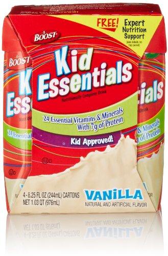 Boost Kid Essentials Nutritionally Complete Drink, Vanilla (4 Count, 8.25 Fl Oz Each)