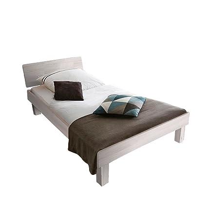 SAM Holzbett mit geschlossenem Kopfteil, Liegefläche: 120 x 200 cm Buche Massivholzbett, Holz, weiß, Single, 205 x 125 x 73 cm