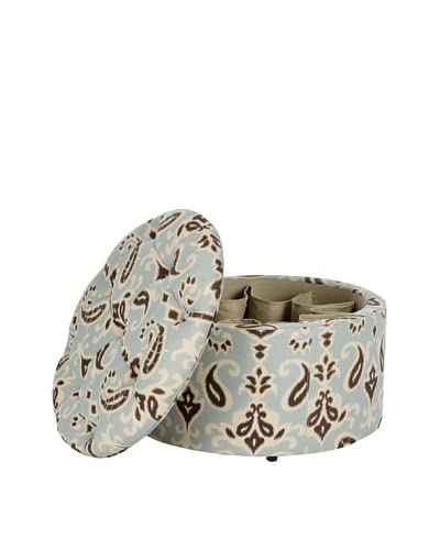 Safavieh Tanisha Shoe Ottoman, Light Blue/White/Brown Ikat/Beige
