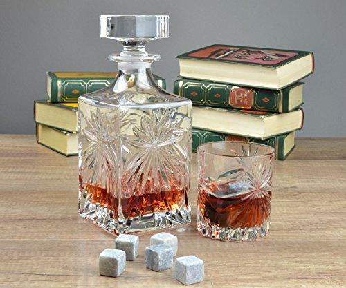 RCR Whisky OASIS ensemble de 7 piéces - une carafe à whisky et 6 verres + GRADUIT pierres à whiskey de la stéatite naturelle 9 pcs.