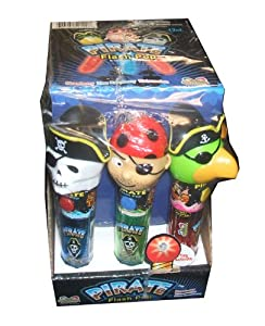 Kidsmania Pirate Flash Pops Novelty Lollipop Suckers 12 Count Box