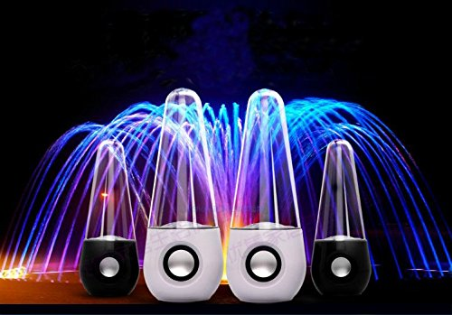 Abcgoodefg® Music Fountain Three Colour Led Dancing Water Stereo Speakers White (White)