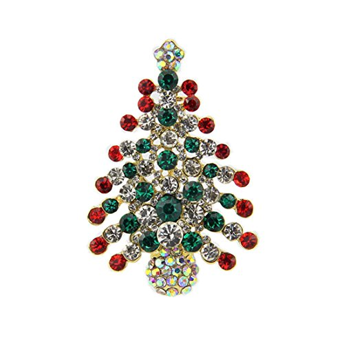 Multi-Colored Crystal Christmas Tree Brooch Pin Christmas Gift