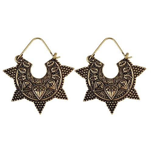 Stile Vintage Etnico Argento Tibetano Golden gancio Carving Geometria Orecchini pendenti, Lega, colore: gold, cod. E-3925