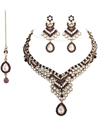 I Jewels Traditional Gold Plated Kundan Necklace Set With Maang Tikka For Women(Purple)(K7002Pu)
