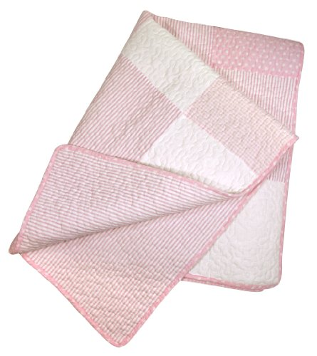 Stephan Baby Reversible Pieced Crib Quilt, Pink and White Vintage Dot