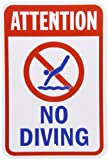 """SmartSign Aluminum Sign, Legend """"Attention - No Diving"""" with Graphic, 18"""" high x 12"""" wide, Blue/Red on White"""