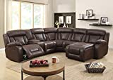 UFE Savannah Reclining Sectional Sofa with Chaise for Living Room Faux Leather Fabric Brown