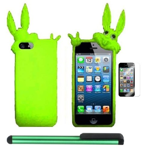 Buy  Neon Green Rabbit Silicone Skin Premium Design Protector Soft Cover Case Compatible for Apple Iphone 5 (AT&T, VERIZON, SPRINT) + Screen Protector Film + Combination 1 of New Metal Stylus Touch Screen Pen (4