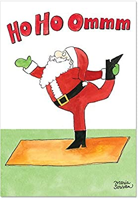 B1885 Box Set of 12 Santa Yoga Unique Humor Christmas Greeting Cards with Envelopes by NobleWorks