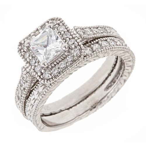 Cz Vintage Wedding Rings 8 Good Vintage Engraved Diamond CZ