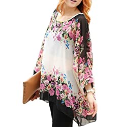 Imixcity Hot Sales Women's Loose Bat Sleeve Bohemian Style Chiffon Casual T-Shirt Tops Blouse