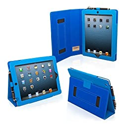 Snugg iPad 3 & 4 Case - Smart Cover with Flip Stand & Lifetime Guarantee (Electric Blue Leather) for Apple iPad 3 and 4