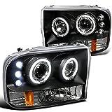 Spec-D Tuning 2LHP-F25099JM-TM Ford F250 Led Dual Halo Black Projector Head Lights
