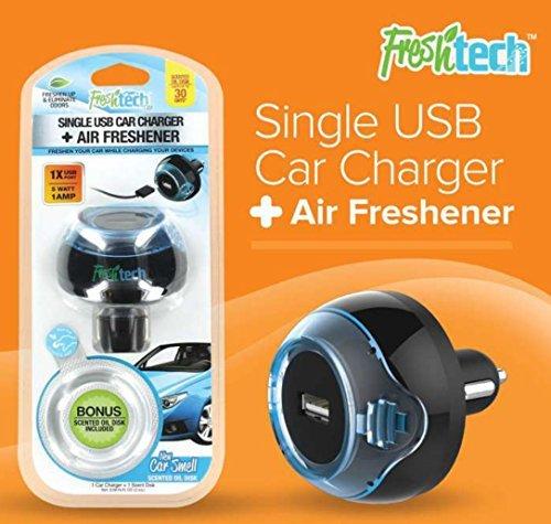 freshtech single usb car charger w bonus new car smell scent vehicles parts vehicle parts. Black Bedroom Furniture Sets. Home Design Ideas