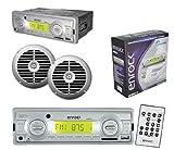 Marine Enrock Indash Radio USB MP3 MMC Receiver Pair of 6.5″ Speakers Silver Set