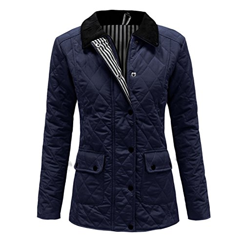 Envy Boutique Women's Quilted Padded Button Zip Winter Jacket Coat Top Plus Sizes Navy 16 Plus