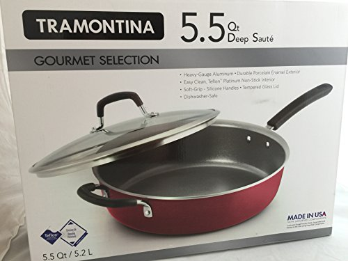 Tramontina Red Gourmet Heavy-Gauge Nonstick Covered Deep Saute Pan, 5.5-Quart