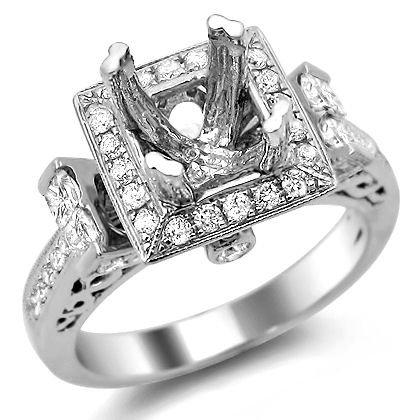 .90Ct Princess Cut Diamond Semi Mount Setting Ring 14K White Gold Vintage Style