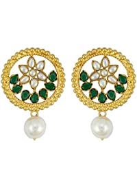 Gehnamart Yellow Gold Plated Pearl Stud Earring
