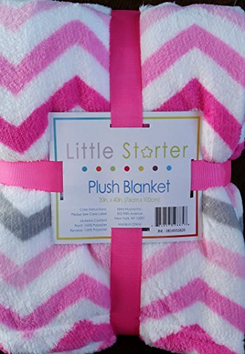 Little Starter Plush Blanket in Light & Dark Pink with Grey Chevron Pattern - 1