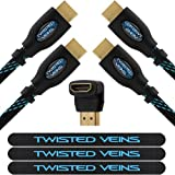 Twisted Veins Two (2) Pack of (6 ft) High Speed HDMI Cables + Right Angle Adapter and Velcro Cable Ties (Latest Version Supports Ethernet, 3D, and Audio Return)