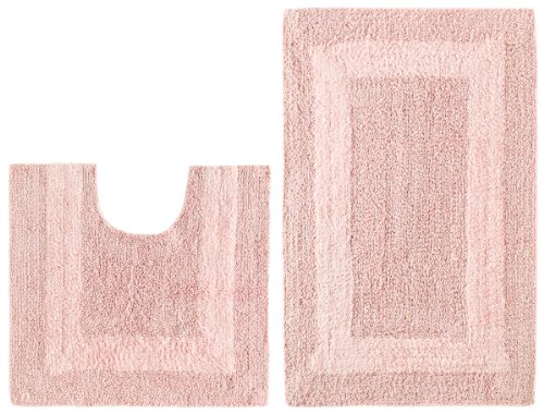 2 Piece Reversible Bath Rug Set   Race Track Light Pink By Cotton Craft    100