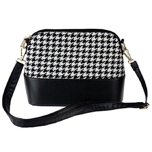 C&L Women Houndstooth Shoulder Bags Messenger Satchel Bag