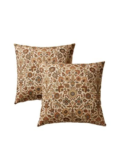 Colorfly by Belle Masion Set of 2 Indira Pillows, Nutmeg