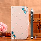 Locaa(TM) For LG Optimus L50 LGL50 3D Bling Case + Phone stylus + Anti-dust ear plug Deluxe Luxury Crystal Pearl Diamond Rhinestone eye-catching Beautiful Leather Retro Support bumper Cover Card Holder Wallet Cases - [General series] blue dragonfly