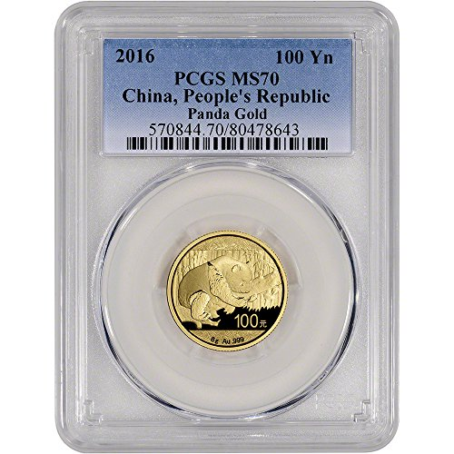 2016 CN China Gold Panda (8 g) 100 Yuan MS70 PCGS