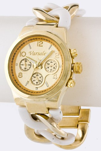 Contempo Couture Chain Link Chronograph Watch (Gold/White)