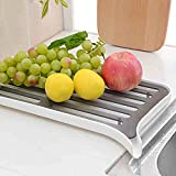 2-Tier Heavy Duty Footed Fashionable Multipurpose Plastic Nesting Double Colander Set Commercial Grade,Constructed From Durable,Non-slip,Use As Sink Basket vegetable colander basket Dish Drainer,Drain Board,Sink Caddy,Sink Drainer,Dishpan,Dish Rack System,Dish Drying Rack,Expandable and Space Saving